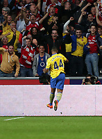 Saturday 28 September 2013<br /> Pictured: Serge Gnabry of Arsenal celebrating his opening goal.<br /> Re: Barclay's Premier League, Swansea City FC v Arsenal at the Liberty Stadium, south Wales.