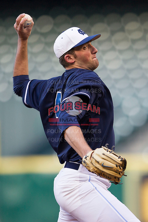 North Carolina Tar Heels starter Kent Emanuel #41 delivers a pitch during the NCAA baseball game against the Rice Owls on March 1st, 2013 at Minute Maid Park in Houston, Texas. North Carolina defeated Rice 2-1. (Andrew Woolley/Four Seam Images).