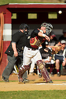 County College of Morris Titans catcher Rafe Shupe (3) makes a throw to first base against the SUNY Sullivan Generals on the campus of County College of Morris on April 9, 2013 in Randolph, New Jersey.  The Titans defeated the Generals 12-4.  (Brian Westerholt/Four Seam Images)