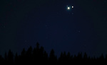Saturn and Jupiter conjuncture, seen near Woodfords, Ca., on Monday, Dec. 21, 2020. <br />Photo by Cathleen Allison
