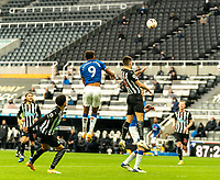 1st November 2020; St James Park, Newcastle, Tyne and Wear, England; English Premier League Football, Newcastle United versus Everton; Dominic Calvert-Lewin of Everton climbs for a header against Federico Fernández of Newcastle United