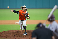 Sam Houston State Bearkats relief pitcher Nick Mikolajchak (21) delivers a pitch to the plate against the Mississippi State Bulldogs in game eight of the 2018 Shriners Hospitals for Children College Classic at Minute Maid Park on March 3, 2018 in Houston, Texas.  The Bulldogs defeated the Bearkats 4-1.  (Brian Westerholt/Four Seam Images)