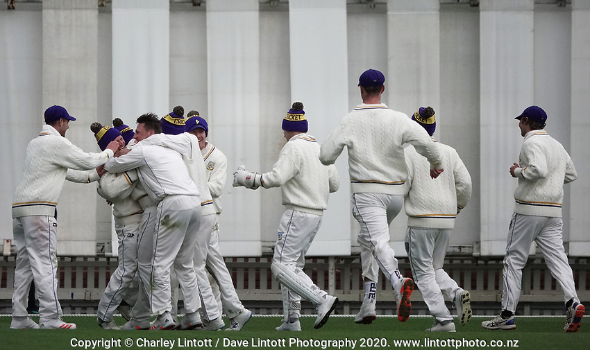 Otago players celebrate during day four of the Plunket Shield match between the Wellington Firebirds and Otago Volts at Basin Reserve in Wellington, New Zealand on Sunday, 8 November 2020. Photo: Charley Lintott / lintottphoto.co.nz