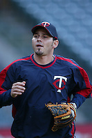 Luis Rodriguez of the Minnesota Twins during batting practice before a 2007 MLB season game against the Los Angeles Angels at Angel Stadium in Anaheim, California. (Larry Goren/Four Seam Images)