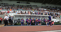 Pictured: The Manchester United bench, Louis Van Gaal, Ryan Giggs Sunday 30 August 2015<br /> Re: Premier League, Swansea v Manchester United at the Liberty Stadium, Swansea, UK