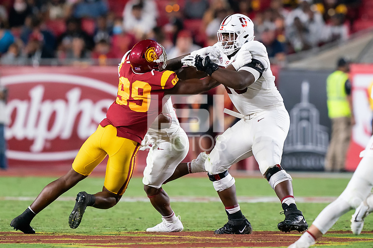 LOS ANGELES, CA - SEPTEMBER 11: Myles Hinton during a game between University of Southern California and Stanford Football at Los Angeles Memorial Coliseum on September 11, 2021 in Los Angeles, California.