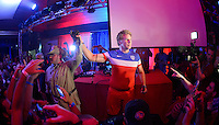 Recife, Brazil - Wednesday, June 25, 2014: Will Ferrell and Teddy Goalsevelt at the US Soccer fan fHQ.