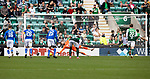 Hibs v St Johnstone…22.09.21  Easter Road.    SPFL<br />Zander Clark dives the right way but can't stop Martin Boyle's penalty kick<br />Picture by Graeme Hart.<br />Copyright Perthshire Picture Agency<br />Tel: 01738 623350  Mobile: 07990 594431