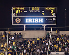 Sep. 6, 2014; Scoreboard from the Notre Dame-Michigan football game which momentarily showed a 37-0 Notre Dame win. The final official score was 31-0 after a penalty negated a Notre Dame touchdown. (Photo by Matt Cashore)
