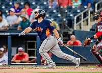 27 February 2019: Houston Astros infielder Tyler White hits a double in pre-season action against the Washington Nationals at the Ballpark of the Palm Beaches in West Palm Beach, Florida. The Nationals defeated the Astros 14-8 in their Spring Training Grapefruit League matchup. Mandatory Credit: Ed Wolfstein Photo *** RAW (NEF) Image File Available ***