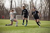 LOUISVILLE, KY - MARCH 13: Yuki Nagasato #17 of Racing Louisville FC passes the ball during a game between West Virginia University and Racing Louisville FC at Thurman Hutchins Park on March 13, 2021 in Louisville, Kentucky.