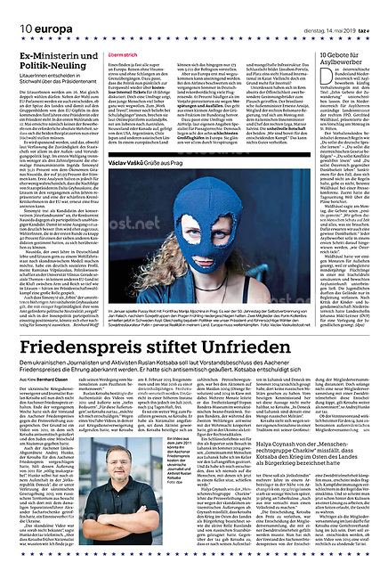 die tageszeitung taz (German daily) citing our photographers' views of the new European Parliament's agenda. Prague, Czechia, 05.2019.<br />