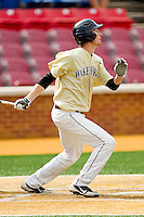 Evan Stephens #5 of the Wake Forest Demon Deacons follows through on his swing against the Virginia Tech Hokies at Wake Forest Baseball Park on April 21, 2012 in Winston-Salem, North Carolina.  The Demon Deacons defeated the Hokies 8-6.  (Brian Westerholt/Four Seam Images)