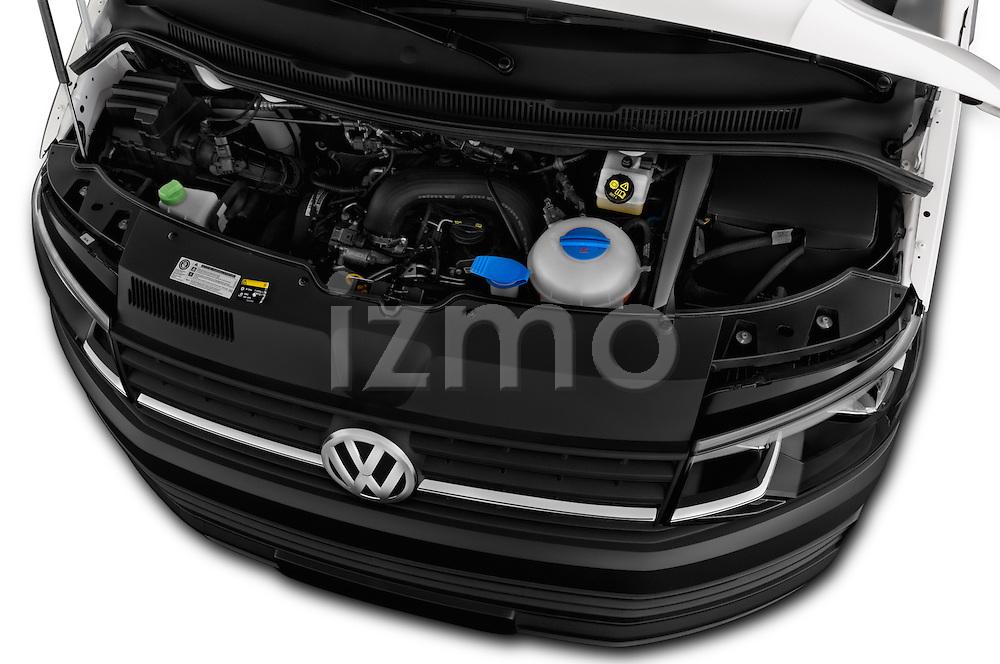 Car Stock 2016 Volkswagen Transporter-Furgon - 4 Door Cargo Van Engine  high angle detail view