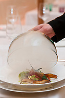 Europe/Autriche/Niederösterreich/Vienne:Pigeon à l'étouffée,strudel au fromage blanc, navets et radis noir recette de  Maximilian  Aichinger du restaurant: Artner am Franziskanerplatz