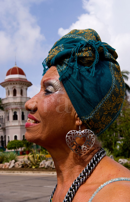 Old woman 78 years old and singer portrait of character in Cienfuegos Cuba