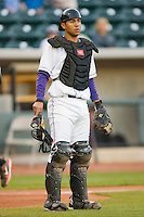 Catcher Luis Sierra #7 of the Winston-Salem Dash on defense against the Frederick Keys at  BB&T Ballpark April 28, 2010, in Winston-Salem, North Carolina.  Photo by Brian Westerholt / Four Seam Images