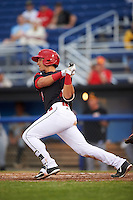 Batavia Muckdogs third baseman J.J. Gould (49) at bat during a game against the West Virginia Black Bears on June 28, 2016 at Dwyer Stadium in Batavia, New York.  Batavia defeated West Virginia 3-1.  (Mike Janes/Four Seam Images)
