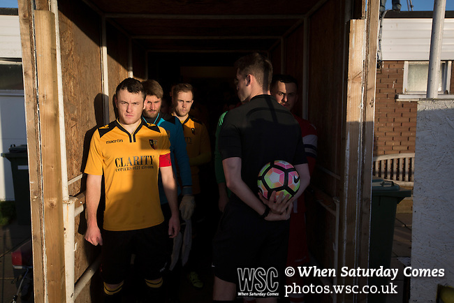 Alvechurch FC 3 Highgate United 0, 26/12/2016. Lye Meadow, Midland Football League Premier Division. The teams waiting in the tunnel at Lye Meadow before Alvechurch (in amber) hosted Highgate United in a Midland Football League premier division match. Originally founded in 1929 and reformed in 1996 after going bust, the club has plans to move from their current historic ground to a new purpose-built stadium in time for the 2017-18 season. Alvechurch won this particular match by 3-0, watched by 178 spectators, taking them back to the top of the league. Photo by Colin McPherson.