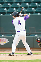 Winston-Salem Dash third baseman Chris Curley (4) at bat against the Myrtle Beach Pelicans at BB&T Ballpark on July 7, 2013 in Winston-Salem, North Carolina.  The Pelicans defeated the Dash 6-5 in 8 innings in game two of a double-header.  (Brian Westerholt/Four Seam Images)