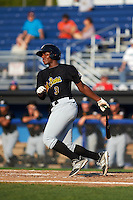 West Virginia Black Bears third baseman Ke'Bryan Hayes (3) at bat during a game against the Batavia Muckdogs on August 30, 2015 at Dwyer Stadium in Batavia, New York.  Batavia defeated West Virginia 8-5.  (Mike Janes/Four Seam Images)