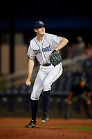 Charlotte Stone Crabs relief pitcher J.D. Busfield (35) delivers a pitch during a game against the Palm Beach Cardinals on April 20, 2018 at Charlotte Sports Park in Port Charlotte, Florida.  Charlotte defeated Palm Beach 4-3.  (Mike Janes/Four Seam Images)