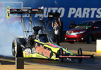 Feb 3, 2016; Chandler, AZ, USA; NHRA top fuel driver J.R. Todd during pre season testing at Wild Horse Pass Motorsports Park. Mandatory Credit: Mark J. Rebilas-USA TODAY Sports