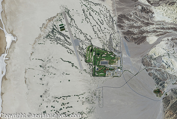 aerial photo map of Furnace Creek and the Furnace Creek Airport (L06), Death Valley National Park, northern Mojave Desert, California