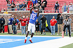 Southern Methodist Mustangs wide receiver Jeremy Johnson (15) catches the game tying touch down pass and stays inbounds during the game between the Rutgers Scarlet Knights and the SMU Mustangs at the Gerald J. Ford Stadium in Fort Worth, Texas. Rutgers defeats SMU 55 to 52 in triple OT.