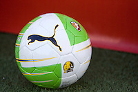 A picture of WPS ball is sitting on the turf before the game between NY/NJ Sky Blue and FC Gold Pride at Castro Valley High School in Castro Valley, California on April 17th, 2010.  FC Gold Pride defeated NY/NJ Sky Blue, 3-1.