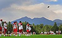 Jul 31, 2009; Flagstaff, AZ, USA; Arizona Cardinals quarterback (13) Kurt Warner throws a pass during training camp on the campus of Northern Arizona University. Mandatory Credit: Mark J. Rebilas-
