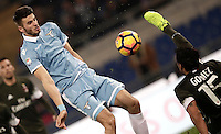 Calcio, Serie A: Lazio, Stadio Olimpico, 13 febbraio 2017.<br /> Lazio's Wesley Hoedt (l) in action with Milan's Gustavo Gomez (r) during the Italian Serie A football match between Lazio and Milan at Roma's Olympic Stadium, on February 13, 2017.<br /> UPDATE IMAGES PRESS/Isabella Bonotto