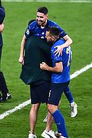 11th July 2021; Wembley Stadium, London, England; 2020 European Football Championships Final England versus Italy; Jorginho and Rafael Toloi  celebrate their penalty shootout win