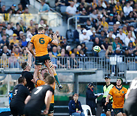 5th September 2021; Optus Stadium, Perth, Australia: Bledisloe Cup international rugby, Australia versus New Zealand; Lachlan Swinton of the Wallabies wins the line out