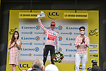 Wout Poels (NED) Bahrain Victorious takes over the mountains Polka Dot Jersey at the end of Stage 8 of the 2021 Tour de France, running 150.8km from Oyonnax to Le Grand-Bornand, France. 3rd July 2021.  <br /> Picture: A.S.O./Charly Lopez | Cyclefile<br /> <br /> All photos usage must carry mandatory copyright credit (© Cyclefile | A.S.O./Charly Lopez)