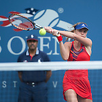Daniela Hantuchova (SVK) battles against Alison Riske (USA) before the rain delay at the US Open being played at USTA Billie Jean King National Tennis Center in Flushing, NY on September 2, 2013