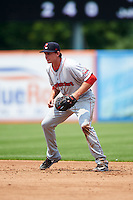 Pawtucket Red Sox second baseman Jonathan Roof (25) during a game against the Syracuse Chiefs on July 6, 2015 at NBT Bank Stadium in Syracuse, New York.  Syracuse defeated Pawtucket 3-2.  (Mike Janes/Four Seam Images)