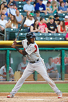 Hector Gomez (14) of the Nashville Sounds at bat against the Salt Lake Bees in Pacific Coast League action at Smith's Ballpark on June 23, 2014 in Salt Lake City, Utah.  (Stephen Smith/Four Seam Images)