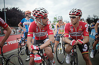 Kenny Dehaes (BEL/Lotto-Belisol) & Jonas Van Genechten (BEL/Lotto-Belisol) at the start. 4 hrs later they would both be on the podium next to Tom Boonen (BEL/OPQS)<br /> <br /> Heistse Pijl 2014