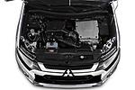 Car Stock 2019 Mitsubishi Outlander-PHEV Intense-4wd 5 Door SUV Engine  high angle detail view