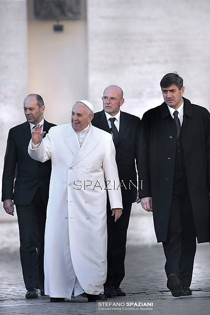 Pope Francis  Domenico Giani, Christoph Graf,Sandro Mariotti,during his weekly general audience in St. Peter square at the Vatican, Wednesday. February 11, 2015