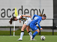 Noemie Fourdin (22) of Sporting Charleroi and Fleur Pauwels (66) of KRC Genk in action during a female soccer game between Sporting Charleroi and KRC Genk on the 4 th matchday in play off 2 of the 2020 - 2021 season of Belgian Scooore Womens Super League , friday 30 th of April 2021  in Marcinelle , Belgium . PHOTO SPORTPIX.BE | SPP | Jill Delsaux