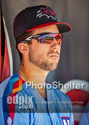23 June 2019: New Hampshire Fisher Cats infielder Kevin Smith in the dugout during a game against the Trenton Thunder at Northeast Delta Dental Stadium in Manchester, NH. The Thunder defeated the Fisher Cats 5-2 in Eastern League play. Mandatory Credit: Ed Wolfstein Photo *** RAW (NEF) Image File Available ***