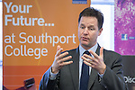 © Joel Goodman - 07973 332324 .  07/02/2014 .  Southport , UK . NICK CLEGG , leader of the Liberal Democrats and Deputy Prime Minister , at a Q&A with students from King George V College at Southport College today (7th February 2014)  . Photo credit : Joel Goodman