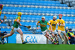 Shane Nolan, Kerry in action against Neil McManus, Antrim during the Joe McDonagh Cup Final match between Kerry and Antrim at Croke Park in Dublin.