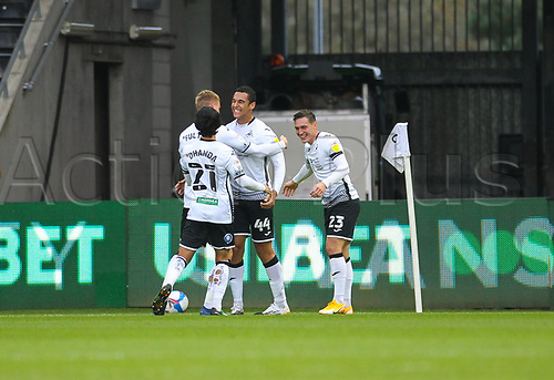 31st October 2020; Liberty Stadium, Swansea, Glamorgan, Wales; English Football League Championship Football, Swansea City versus Blackburn Rovers; Ben Cabango of Swansea City celebrates with teammates after scoring his sides first goal in the 25th minute for 1-0