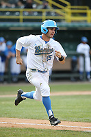 Daniel Amaral (25) of the of UCLA Bruins runs to first base during a game against the University of San Diego Toreros at Jackie Robinson Stadium on March 4, 2017 in Los Angeles, California.  USD defeated UCLA, 3-1. (Larry Goren/Four Seam Images)
