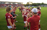 NWA Democrat-Gazette/BEN GOFF @NWABENGOFF<br /> Reagan Swindall, Arkansas defender, fist-bumps coach Colby Hale during introductions before the match vs Vanderbilt Thursday, Sept. 26, 2019, at Razorback Field in Fayetteville.