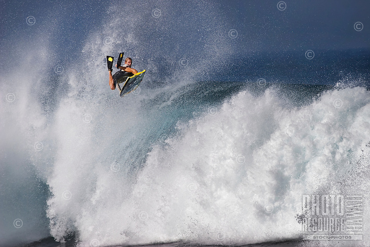 Jeff Hubbard, the 2009 IBA World Tour bodyboarder champion, at Banzai Pipeline on North Shore of Oahu.