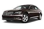 Stock pictures of low aggressive front three quarter view of 2016 Skoda Superb Ambition 5 Door Hatchback Low Aggressive
